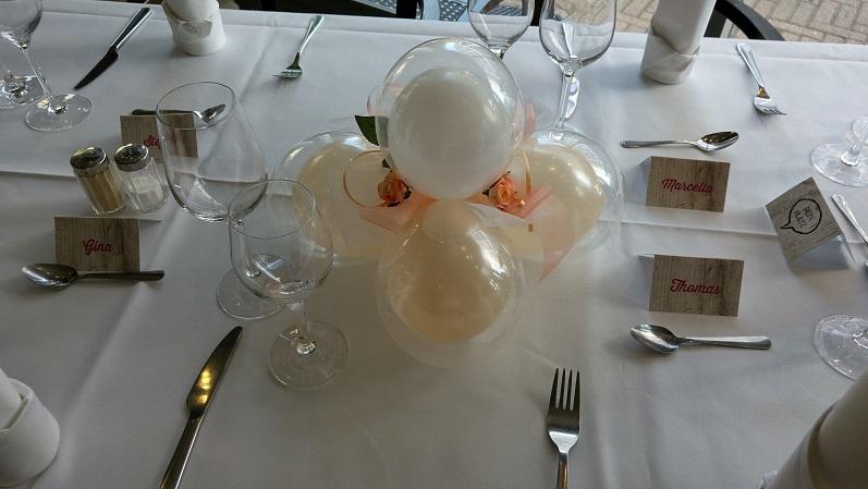 Tischdekoration MiniBallons und Stoffblümchen | 10€/Stk.