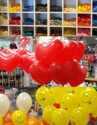 Latexballons diverse. Hier Herzen und bedruckte