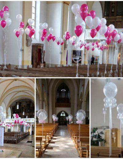 Kirchendekoration, Latexballons und Dekobubbles