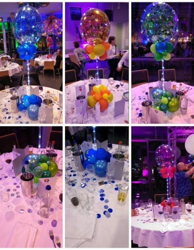 Partydekoration mit Dekobubbles, LEDs und Konfetti, Hier 45€ je Tisch plus LED und Pfand